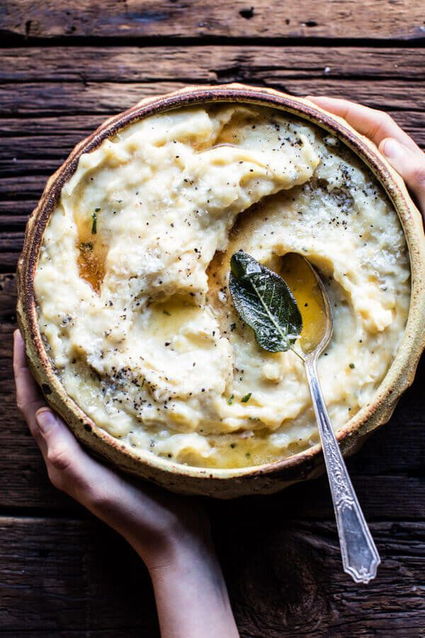 "<strong>Get the <a href=""http://www.halfbakedharvest.com/crockpot-three-cheese-mashed-potatoes/"" target=""_blank"">Slow Cooker"