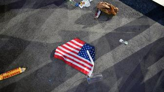 NEW YORK, NY - NOVEMBER 9:   A flag is photographed on the floor of the Javits Center on November 8, 2016 in New York City, New York. (Photo by Jonathan Newton/The Washington Post via Getty Images)