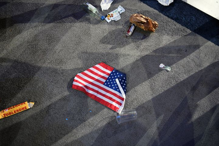 A flag is photographed on the floor of the Javits Center on November 8, 2016 in New York City, New York.