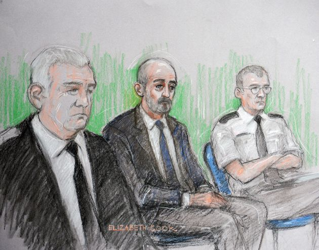 A court artist's sketch of Thomas Mair (centre) in the dock at the Old