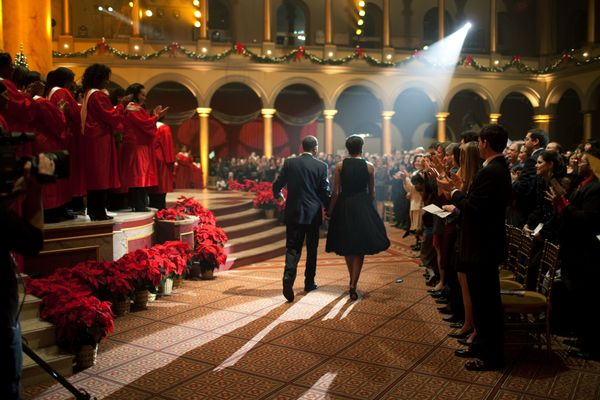 "The Obamas attend the ""Christmas in Washington"" taping at the National Building Museum in Washington on Dec. 13, 2009."