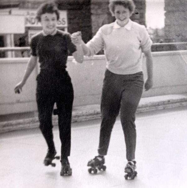 Collect picture of Helen Andre (left) roller skating around the time she met Davy Moakes.