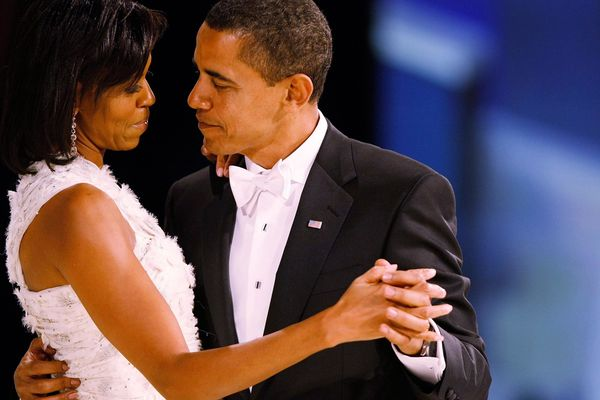 President Barack Obama dances with his wife and first lady Michelle Obama during the Western Inaugural Ball on Jan. 20, 2009