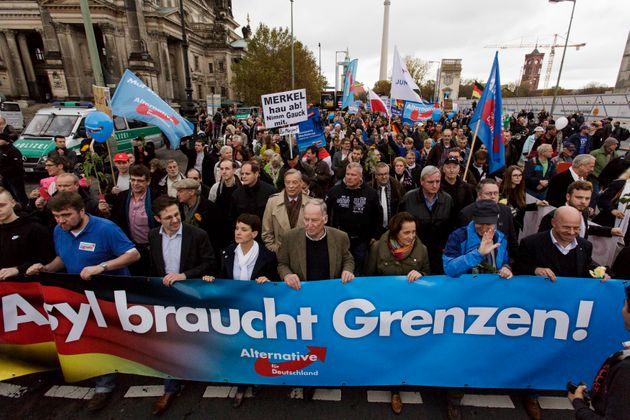 Supporters of the AfD march in Berlin in