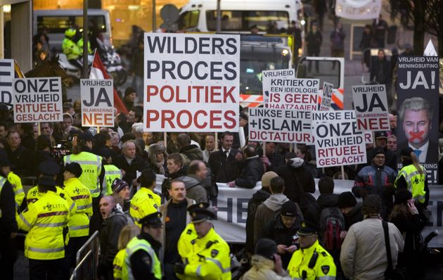 Sympathizers of right-wing Dutch MP Geert Wilders protest in