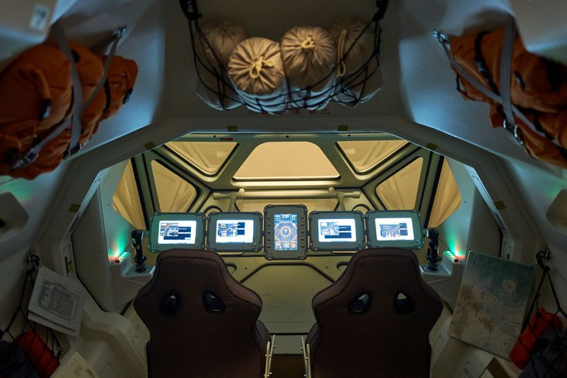 The interior of the Mars rover depicted in the program.