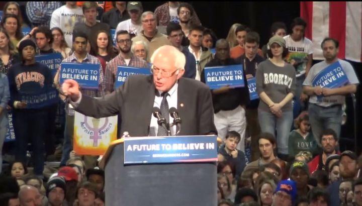 """<p><a href=""""https://www.huffpost.com/news/topic/bernie-sanders"""">Bernie Sanders</a> in Syracuse, N.Y., 2016</p>"""