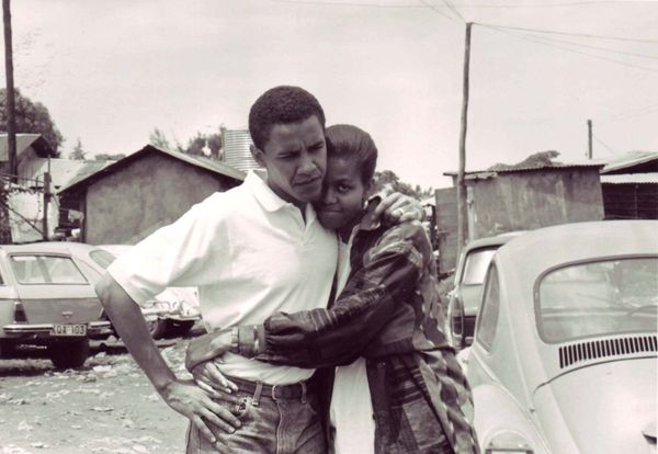 The Obamas in Kenya in 1992.