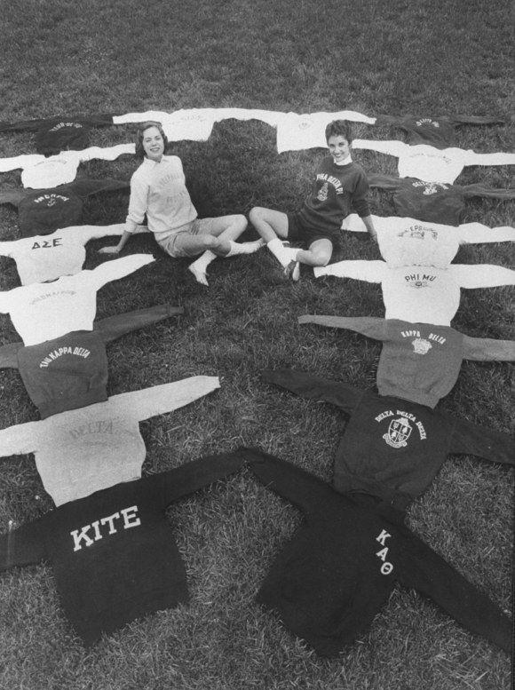 <p>Sweatshirts on display in the '50s.</p>