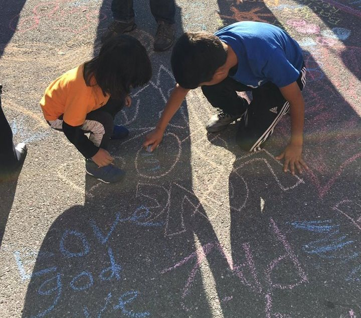 Members of the Episcopal Church of Our Saviour in Silver Spring, Maryland, responded to racistgraffitiwith chalk