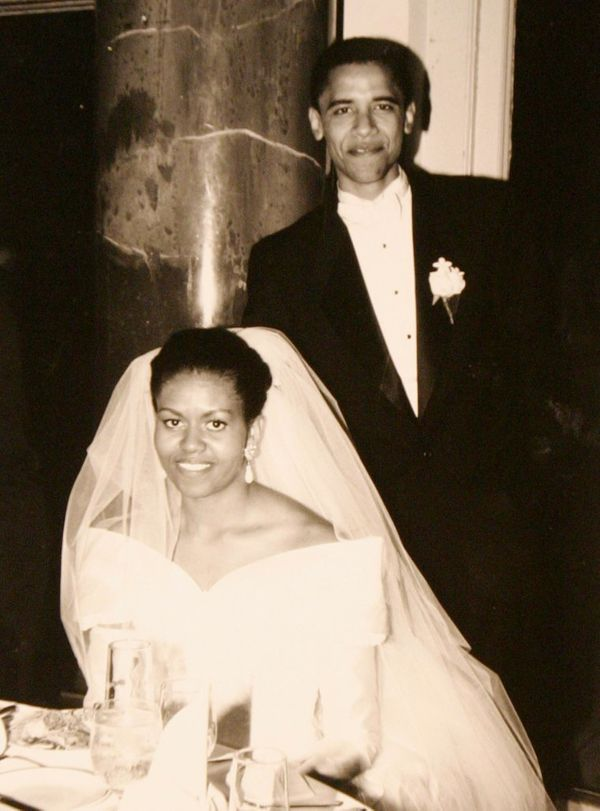 The Obamas on their wedding day in October 1992.
