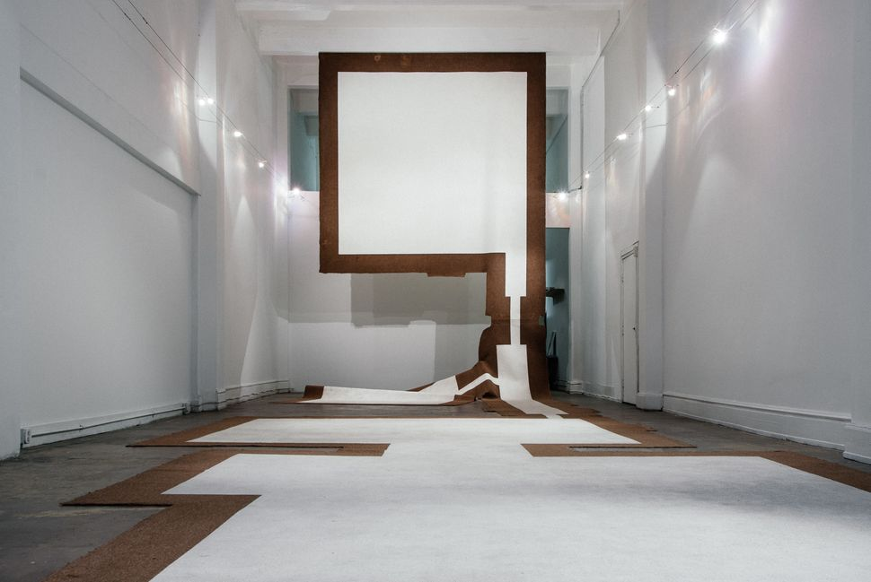 "Carmen Argote, ""720 Sq. Ft. Household Mutations, Part B,"" 2010. Carpet, paint, and Velcro (carpet from the artist's childhood"