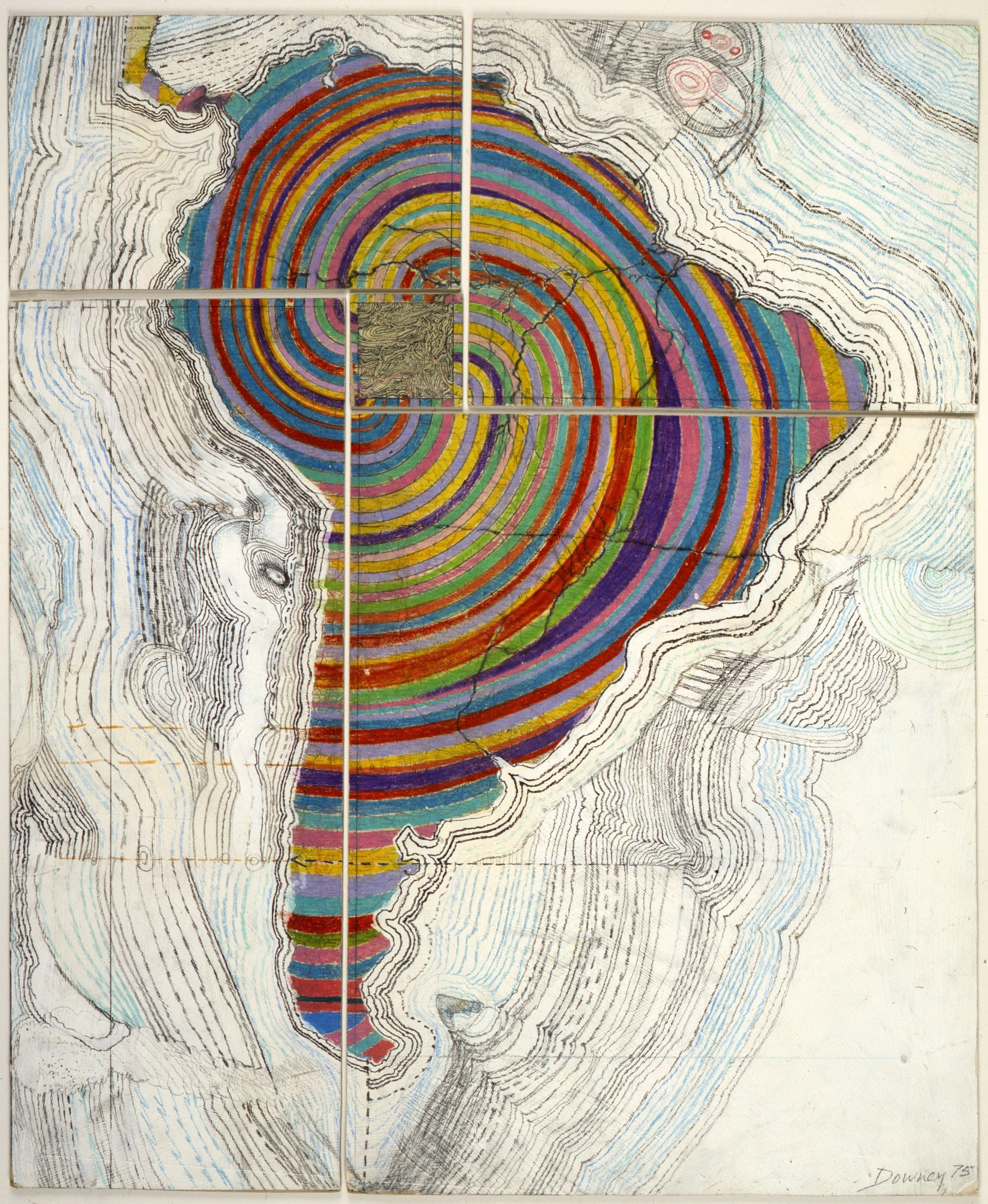 """Juan Downey, """"Map of America,"""" 1975. Colored pencil, pencil, and synthetic polymer paint on map on board."""