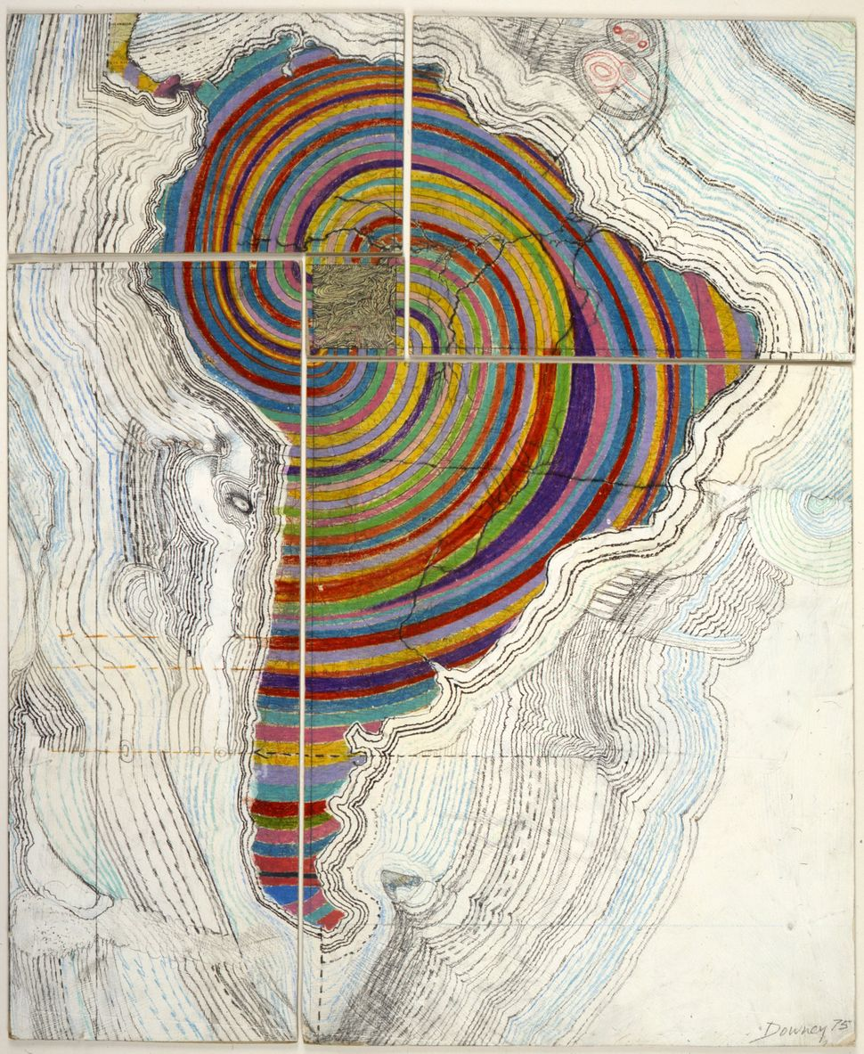 "Juan Downey, ""Map of America,"" 1975. Colored pencil, pencil, and synthetic polymer paint on map on board."
