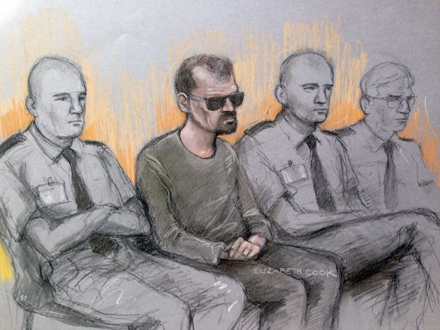 File court artist sketch of Stefano Brizzi (2nd left) in the dock at the Old Bailey, London last