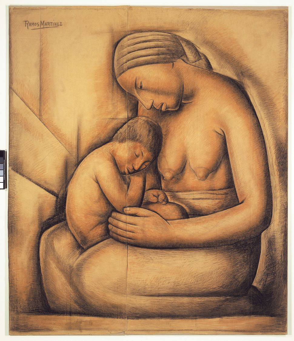 "Alfredo Ramos Martínez, ""La Madre India / Indian Mother,"" ca. 1936. Crayon. The San Diego Museum of Art. Gift of the a"