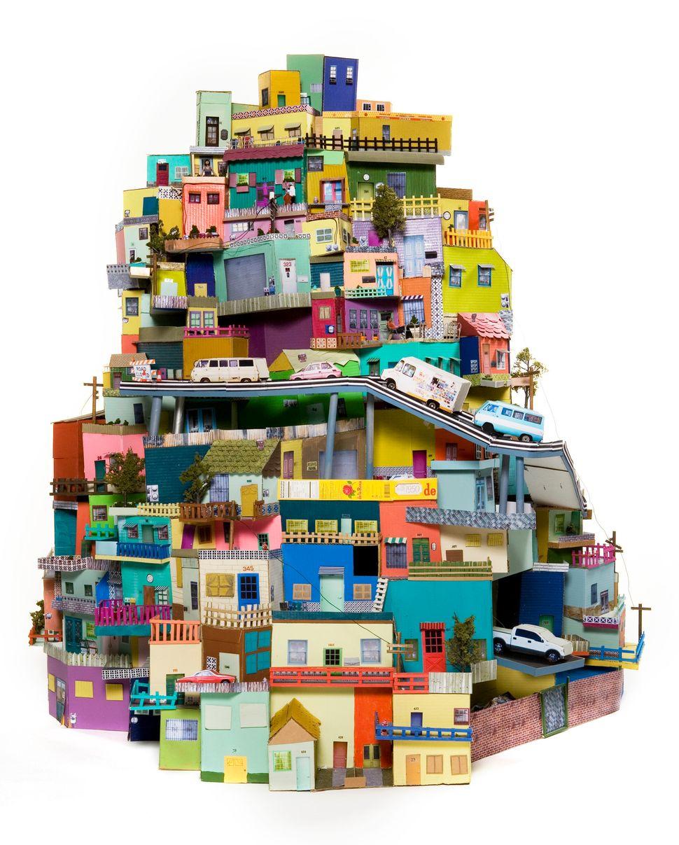 """Ana Serrano, """"Cartonlandia,"""" 2008. Cardboard, paper, acrylic paint."""