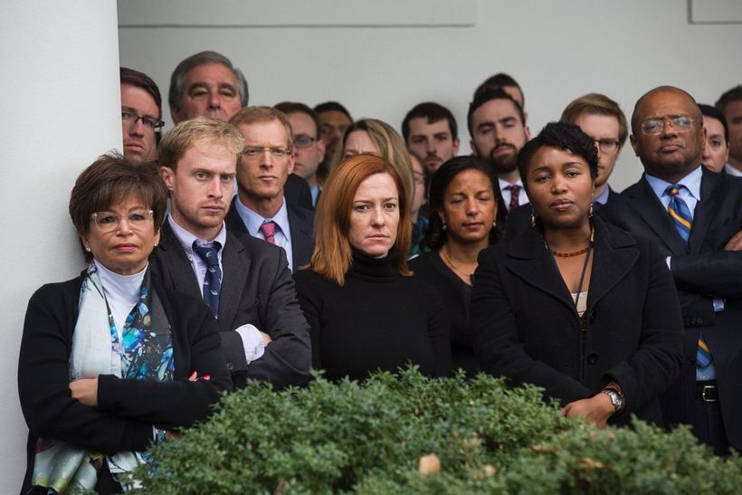 <em>White house staff look on as President Obama responds to the 2016 election results</em>