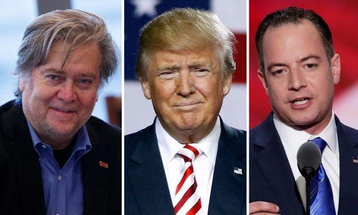 <p>Steve Bannon, Donald Trump, & Reince Priebus</p>