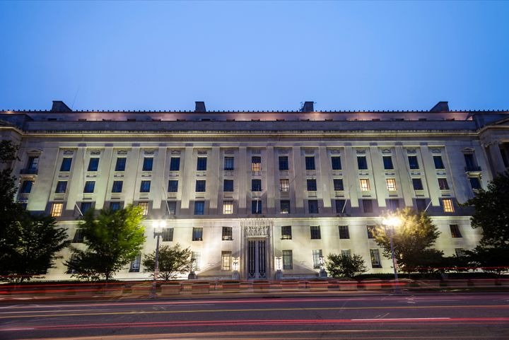 The Department of Justice at night.