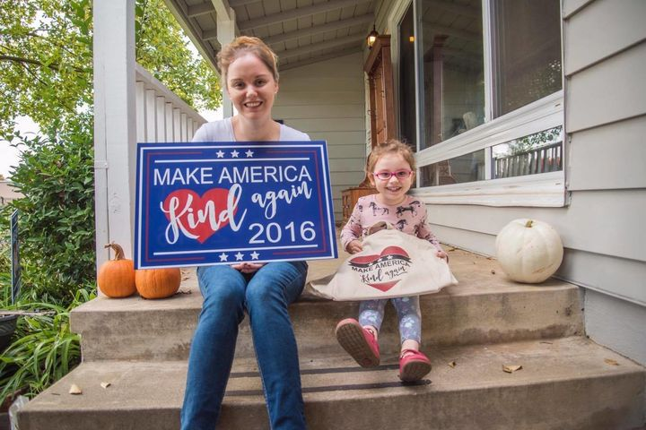 "Amanda Blanc created yard signs with a message similar to Donald Trump's campaign slogan,"" Make America great again."""