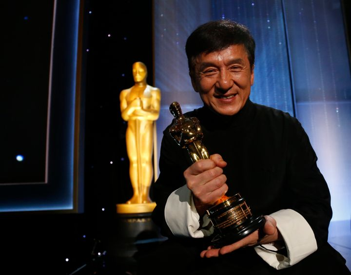 Jackie Chan with his award.