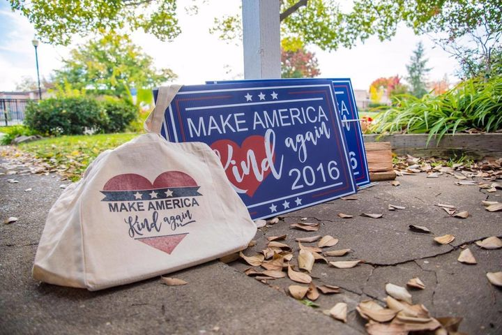 "Blanc has now added her ""Make America Kind Again"" design to tote bags, tumblers and car decals."