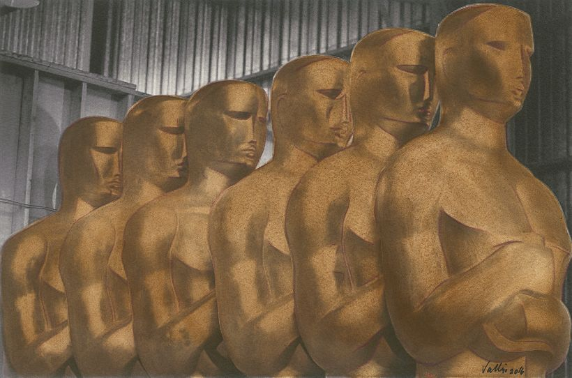 MEAM: Brown Oscars.  Gouache, photographic print, water color paper.