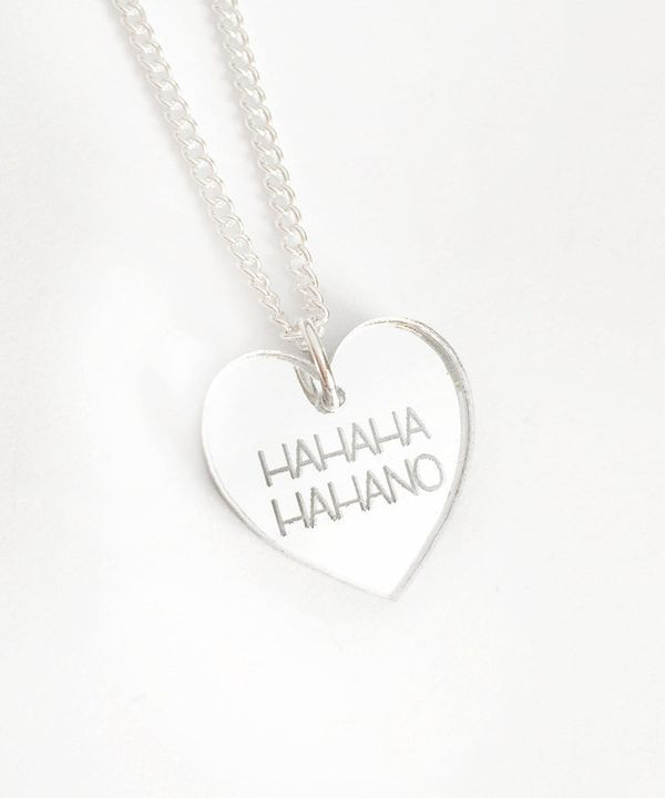 "HAHAHA HAHANO Necklace, $15, <a href=""https://www.etsy.com/listing/250084429/hahaha-hahano-necklace-silver-heart"" target=""_bl"
