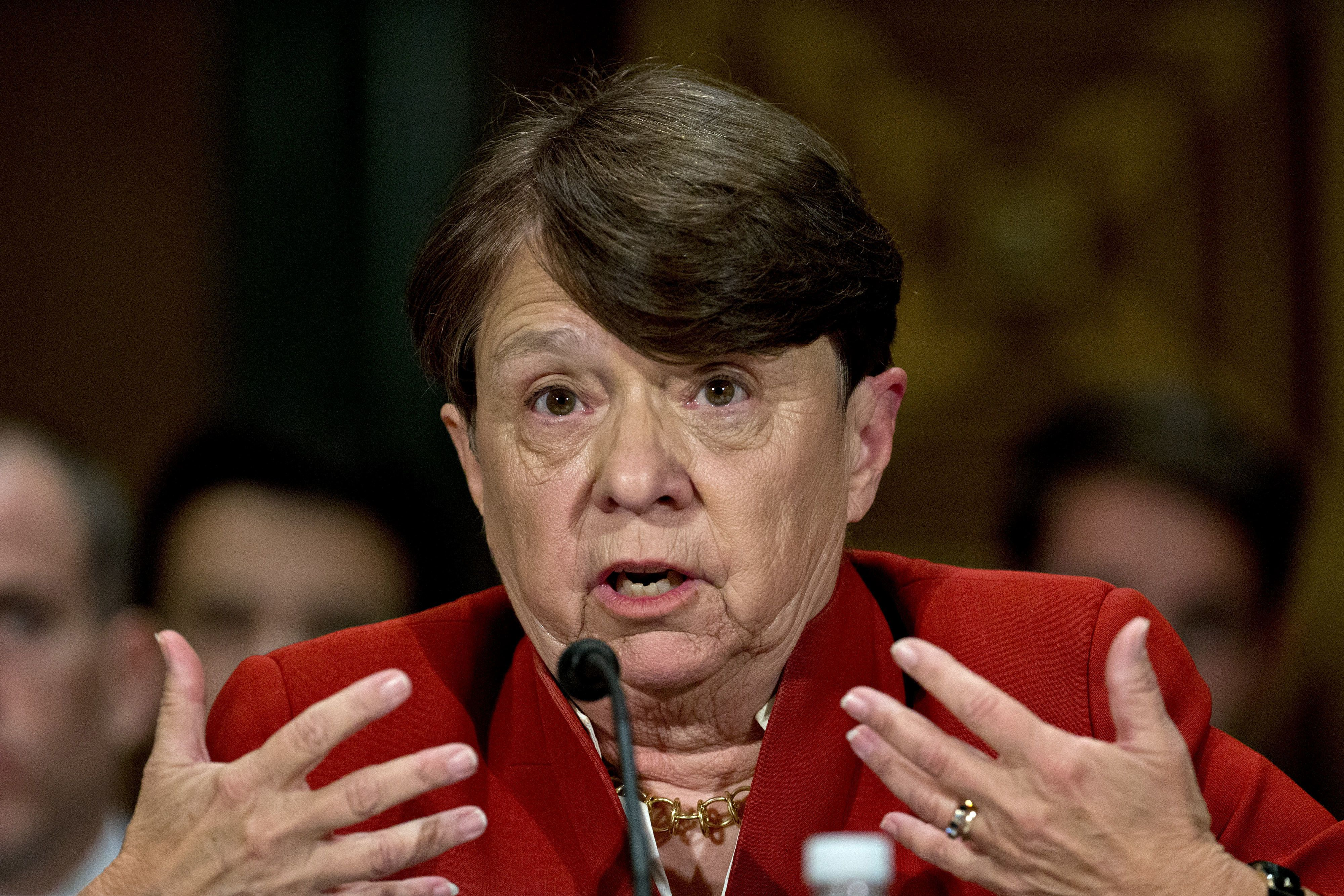 Mary Jo White, chairman of the U.S. Securities and Exchange Commission (SEC), speaks during a Senate Banking, Housing and Urban Affairs Committee hearing in Washington, D.C., U.S., on Tuesday, June 14, 2016. Investment advisers registered with SEC would need to create and maintain transition plans to prepare for a major disruption in their business under rule that will be proposed, White said today. Photographer: Andrew Harrer/Bloomberg via Getty Images