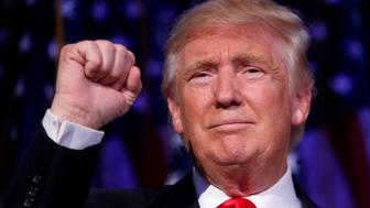 Republican U.S. presidential nominee Donald Trump speaks at his election night rally in Manhattan, New York, U.S., November 9, 2016. REUTERS/Carlo Allegri
