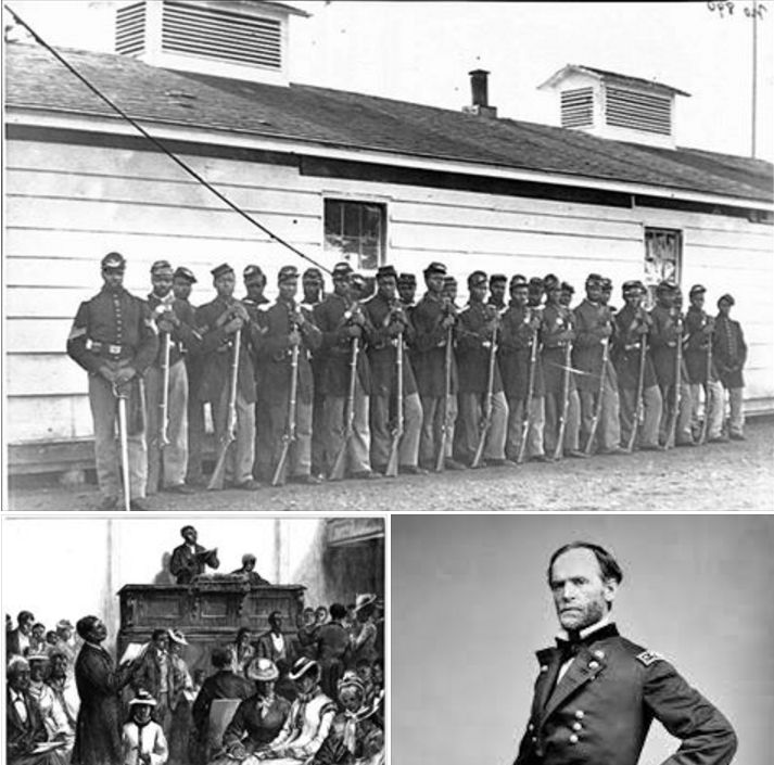 Top: Company E, 4th U.S. Colored Infantry, at Fort Lincoln  Bottom Left: A Negro Congregation, Washington, DC  Bottom Right: