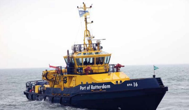 <em>A hybrid diesel-electric tugboat, E-Kotug, being tested by Port of Rotterdam in an effort to reduce shipping emissions an