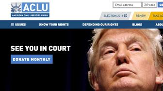 ACLU homepage reaction to Donald Trumps election
