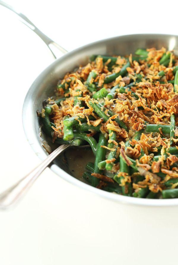 """<strong>Get the <a href=""""http://minimalistbaker.com/vegan-green-bean-casserole/"""" target=""""_blank"""">Vegan Green Bean Casserole r"""