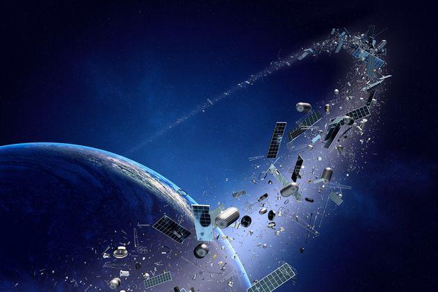 Illustration of space junk orbiting around