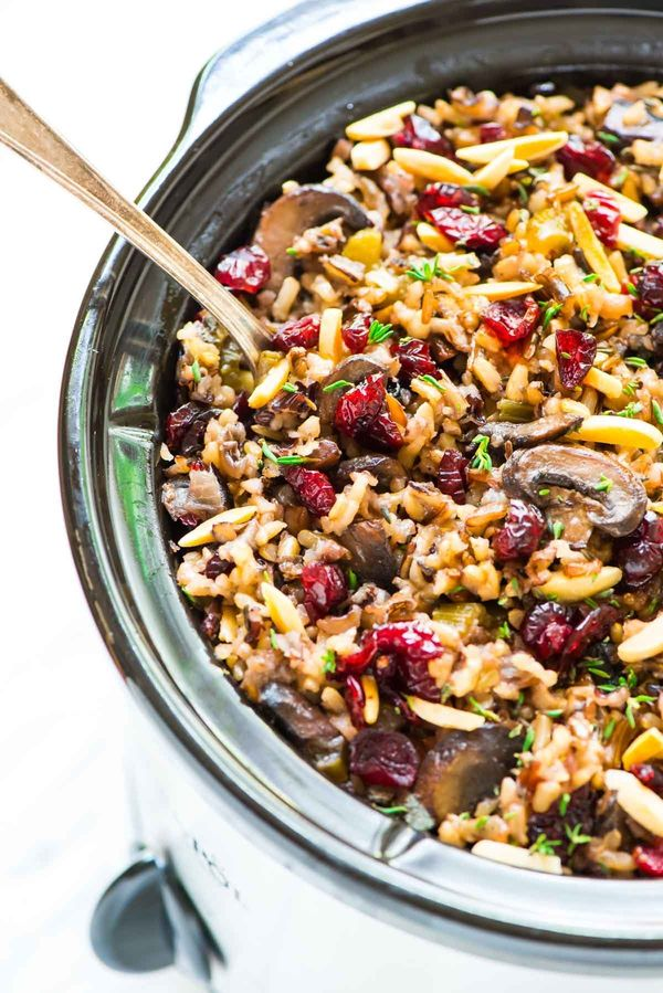 "<strong>Get the <a href=""http://www.wellplated.com/crock-pot-stuffing/"" target=""_blank"">Crock Pot Stuffing with Wild Rice Cra"