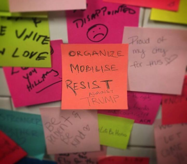 A few messages among the thousands posted on the wall in Manhattan's Union Square subway station.