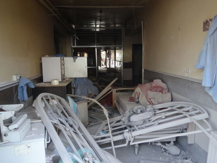 A field hospital was damaged in anairstrike in the Etarib district of Aleppo, Syria on November 14