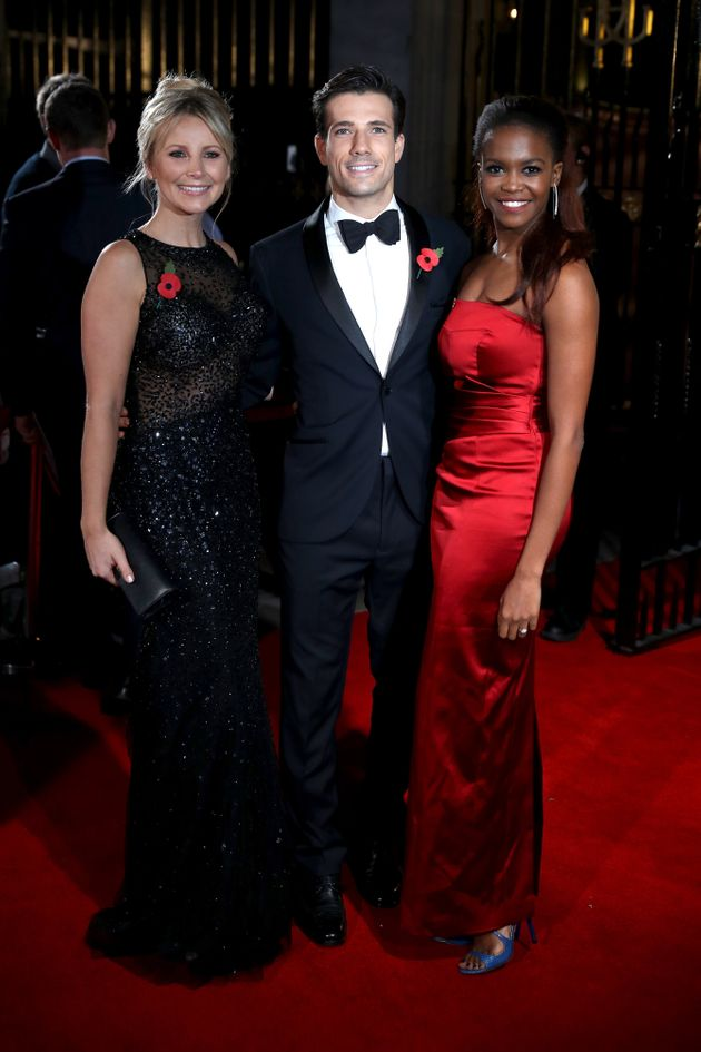 Danny Mac with his fiancéeactress Carley Stenson (left) andOti