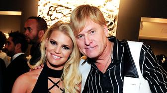 BEVERLY HILLS, CA - FEBRUARY 27:    Jessica Simpson and Joe Simpson attend the 'Tom Everhart 'Raw' Exhibition of His Schulz-influenced Paintings For The First Time In Black And White At Mouche Gallery on February 27, 2016 in  Beverly Hills, California.  (Photo by Amy Graves/WireImage)