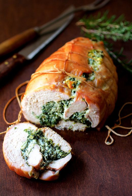 """<strong>Get the <a href=""""http://www.fromachefskitchen.com/spinach-and-ricotta-stuffed-turkey-breast-with-garlic-herb-sauce/"""""""