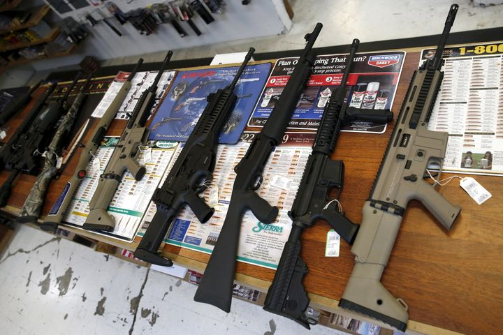 Guns for sale are displayed in Roseburg Gun Shop in Roseburg, Oregon, United States, October 3, 2015.