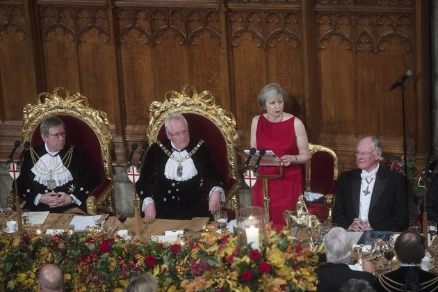 Theresa May, U.K. prime minister, speaks during the annual Lord Mayor's Banquet at the Guildhall, in...
