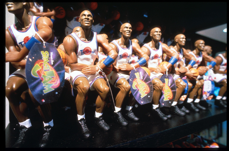 Michael Jordan dolls on display at a New York CityWarner Bros. Studio store in October1996.
