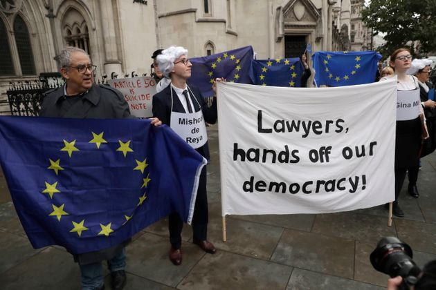 Brexit campaigners outside the High