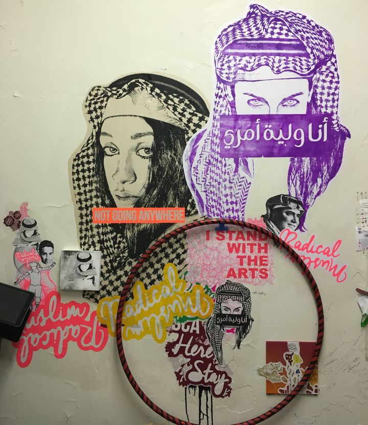 A mural by Ms Saffaa at the Sydney College of the Arts.