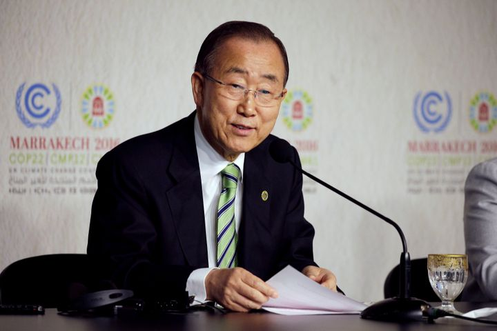United Nations Secretary-General Ban Ki-moon speaks at the UN World Climate Change Conference 2016 (COP22) in Marrakech, Moro