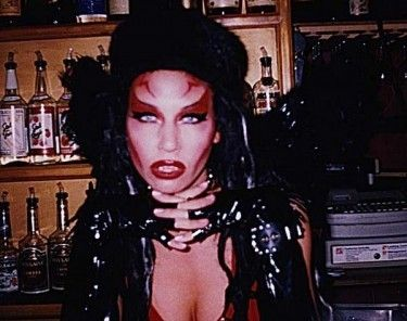 Alchemistress Ambrosia the inventor of the Bloodbath cocktail at MOTHER / Long Black Veil Thursdays. 1997-2000.