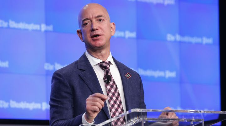 Amazon founder Jeff Bezos speaks in Washington, DC, earlier this year.